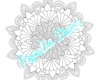 Mandala coloring page - Destress - Adult coloring relax page - Instant digital download - PDF