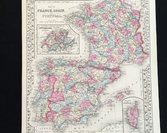 France spain map etsy 1881 map of france spain and portugal original antique map large color map by a mitchell gumiabroncs