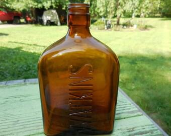 Vitnage 1930s Brown/Amber Square Watkins Bottle Short Made in USA Coconut Oil Shampoo Bottle Bathroom Decor