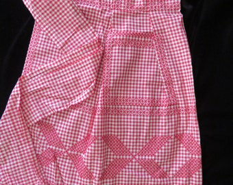 Red Checked, Cross Stitched 1/2 Apron