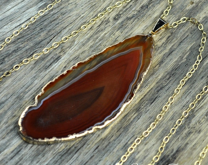 Agate Necklace, Agate Pendant, Brown Agate Jewelry, Brown Agate Pendant, Agate Slice Necklace,Agate Gold Necklace, Natural, 14k Gold ...
