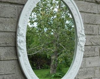 White frame oval mirror. (bathroom mirror, dresser,vanity mirror, shabby chic mirror, nursery decor