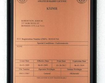 Amateur Radio License Plaque - Copper & Black