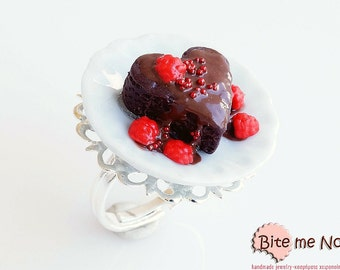 Mini Food Heart Chocolate Soufflé Ring, Miniature Food Jewelry, Polymer Clay Sweets, Kawaii Jewelry, Food Jewelry,Cute Jewelry