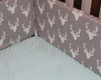 Buck Deer Crib Bumper - Gray, Black, Navy, Mint, White Gray, Mustard Yellow, Pink, Coral