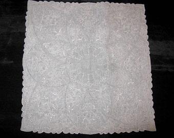 Madeira Embroidered Handkerchief, Vintage Madeira Embroidery Hankies Hanky