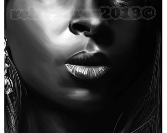 Mary J Blige painted portrait (various colors available)