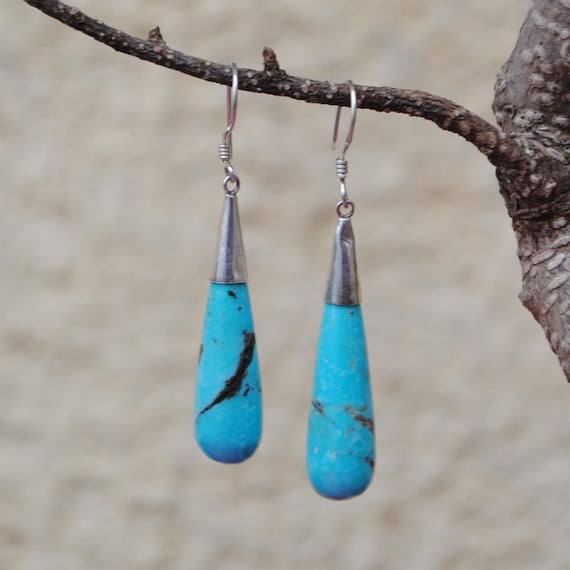 Boucles d'oreille en turquoise et argent