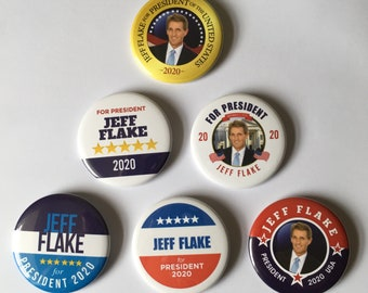 Jeff Flake For President Set of 6 Campaign Buttons (FLAKE-ALL)