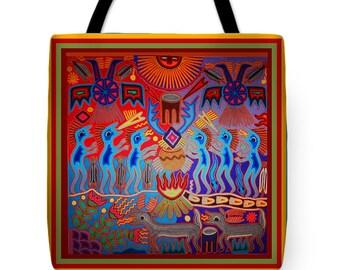 Huichol Inspired Indian Shaman Fire Ritual Design Throw Pillow  Gift - Shaman Ritual Design Tote Bag - Shaman Tribal Decor Throw Pillow