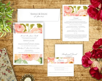 Floral Wedding Invitations, Watercolour Invites, Blush and Green