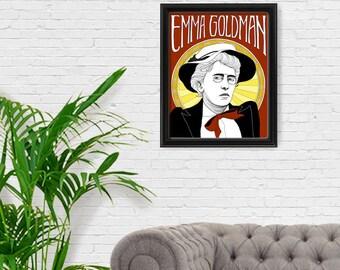 Emma Goldman Portrait Print, Fine Art Print, Feminist Art, Feminism, Anarchist, Giclee Art Print