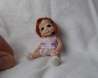 Miniature doll , one of a kind doll, handmade doll, small polymer clay, handsculpt art doll, artist doll