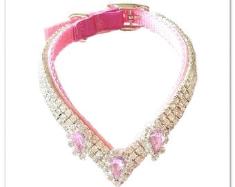 "Pink Velvet ""V"" with Accents Crystal Rhinestone Dog or Cat* Collar"
