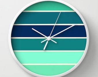 Clock, Aqua & Teal Striped Clock, Wall Clock, Teal Stripes Clock, Striped Clock, Teal Clock, Aqua Clock, Home Decor, Kitchen Clock