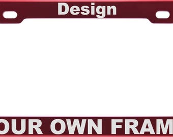Red CUSTOM | Personalized Anodized ALUMINUM License Plate Frame | Laser Etched | FREE Caps