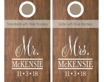 Wedding Cornhole Decals | Monogrammed Cornhole Decal | Monogram Corn Hole Wedding Decals | Custom Cornhole Decal Set