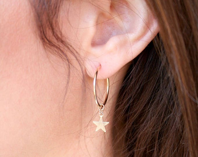 Featured listing image: NEW! Dainty Endless Hoop Gold Earrings with Star Charm.