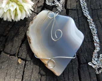 Agate Necklace / Agate Jewelry / Gift For Her / Gemstone Necklace / Boho Necklace / Agate Slice Necklace / Agate / Boho Jewelry / Gemstone