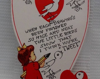 Vintage 1950's Unused School Style Valentine Card/Complete the Drawings/Love Birds/Little Girl w/Giant Pencil/Made In USA 4/5