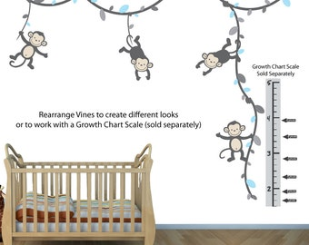 Growth Chart, Monkey Wall Decals for Kids Room (GrayBlue) (V91_MB91_MF89_32_76_77_GC_75_78) MVDG