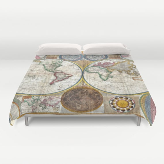 Old world map duvet cover vintage world map bedding map like this item gumiabroncs Image collections