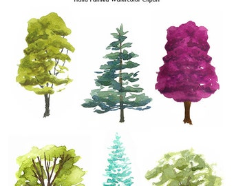 Watercolor tree collection Tree illustration Tree clip art set isolated Digital download High res 300 dpi