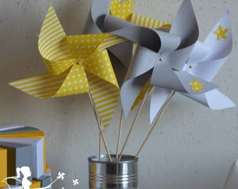 Set of 10 pinwheels wind yellow grey and white decor star 15cm