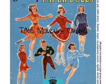 Paper Doll _ Vintage Ice Skater Paper Dolls _ Olympics _ Ice Skating _PDF _ Digital Download _ Collage Sheet Paper Art Dolls + BONUS Booklet
