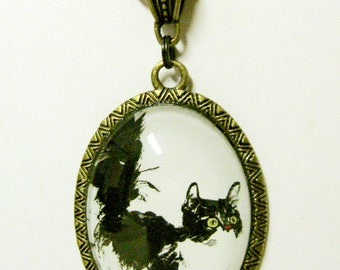 Black and white cat pendant with chain - CAP09-030