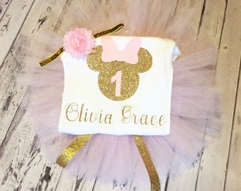 Personalized Pink and Gold Minnie Mouse First Birthday Outfit, Pink and Gold Minnie Birthday Outfit, Pink Gold 1st Birthday Minnie Outfit