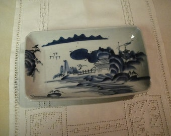 Blue and white Asian design tray