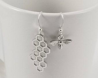 Bee Earrings, Honeycomb Earrings, Honey Bee and Honeycomb Mismatched Earrings, Bee Jewelry, Bee Gift