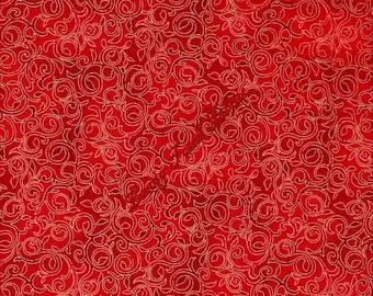"Quilting Treasures ""Christmas Bells"" Metallic Scroll Vines #23832-R Fabric Priced Per 1/2 Yd."