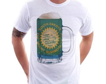 South Dakota State Flag Beer Mug Tee, Unisex, Home Tee, State Pride, State Flag, Beer Tee, Beer T-Shirt, Beer Thinkers, Beer Lovers Tee,