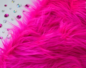 "Hot pink faux fur 2"" pile, hot pink fur fabric craft squares, hot pink fursuit fur, hot pink cosplay fur, hot pink shag fur, hot pink fur"
