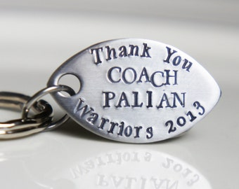 Football Keychain Personalized Coach Football Mom Dad Stainless Steel Key Chain Gift for Coach