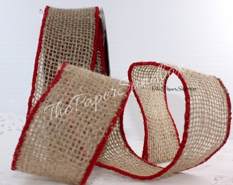 """Wired Burlap Ribbon/Red Border, 2"""" wide by the yard"""