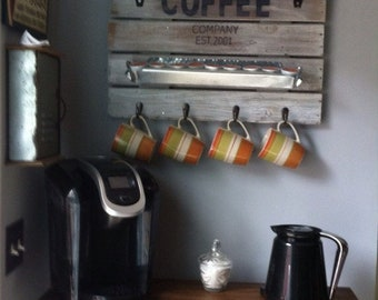 Rustic Home Decor, Coffee station, Rustic Coffee sign, Coffee cup rack, Coffee Home Decor, Rustic Coffee station, Farmhouse Home decor