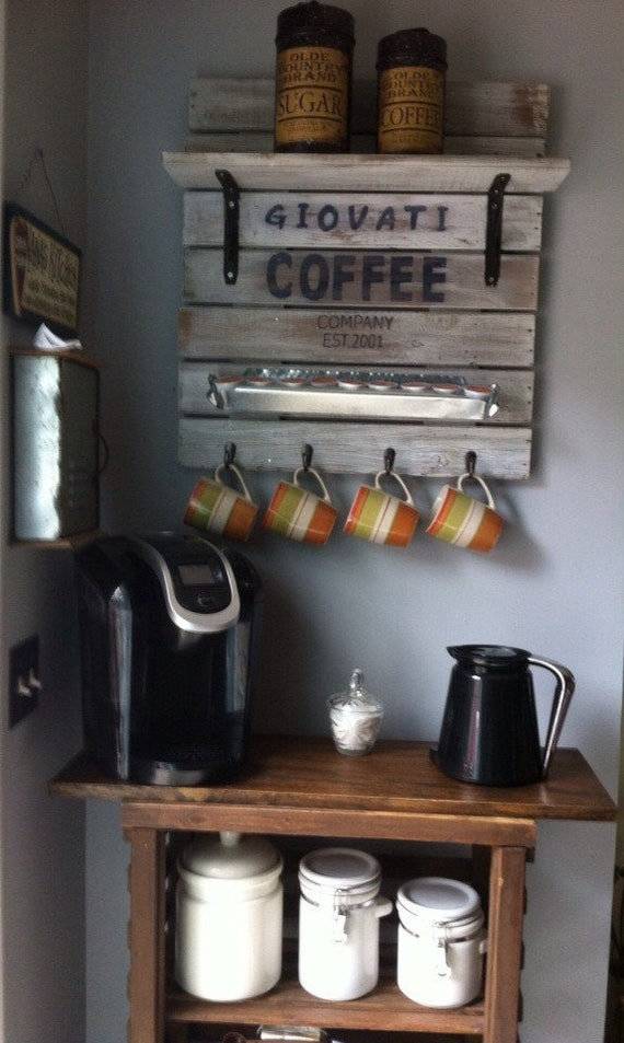 Rustic Home Decor, Coffee station, Rustic Coffee sign, Coffee cup rack, Coffee Home Decor, Rustic Coffee station, Farmhouse Home decor