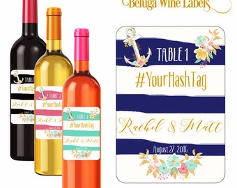 Custom Table Number Wedding Wine Labels Personalized Stickers Anchors and Flowers Stripes Background Hashtag Waterproof Vinyl 3.5 x 5 inch