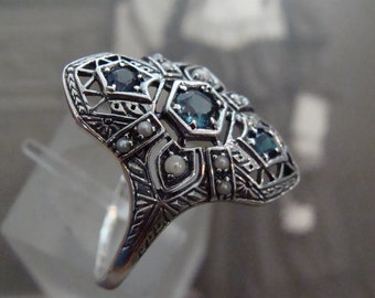 Sterling London Blue Topaz & Seed Pearl  Ring  Size 8.75