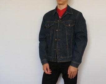 80s Blanket Lined Jean Jacket . Men Insulated Faded Trucker Jacket Short Jacket Coat Medium Wash Denim Jacket Autumn Outerwear . size Medium