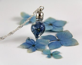 Vial Necklace - Terrarium Necklace- Tiny Necklace - Dainty Necklace - Hydrangea Necklace - Real Flower Necklace - Pressed Flower Necklace