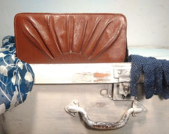 Vintage 60 years, brown leather clutch with metal zipper, fashion accessory, produced in Latvia
