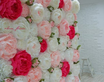 Large paper flowers etsy peonies paper flower wall paper flower backdrop wedding wall wedding backdrop mightylinksfo