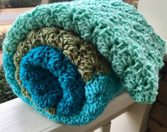 Crocheted Throw Blanket Afghan - Ocean Colors - Sea Colors - Beachhouse - Beach Blanket - Dreaming of Summer Blanket Ready to Ship
