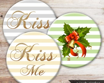 """Kiss me Christmas 3 inch circle Sale, instant download, digital collage sheet, printable Xmas craft, 3"""" Cabochon, pastel stripes, romantic"""
