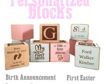 Personalized New Baby Name Birth Announcement keepsake Custom Engraved wooden baby block for newborn girl newborn boy infant name blocks