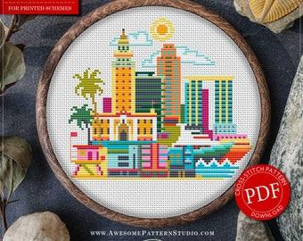 Miami Cross Stitch Pattern for Instant Download *P086   Easy Cross Stitch  Counted Cross Stitch Embroidery Design  City Cross Stitch